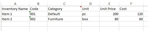 Enter inventory information to Inventory Template