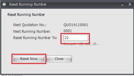 Reset running number
